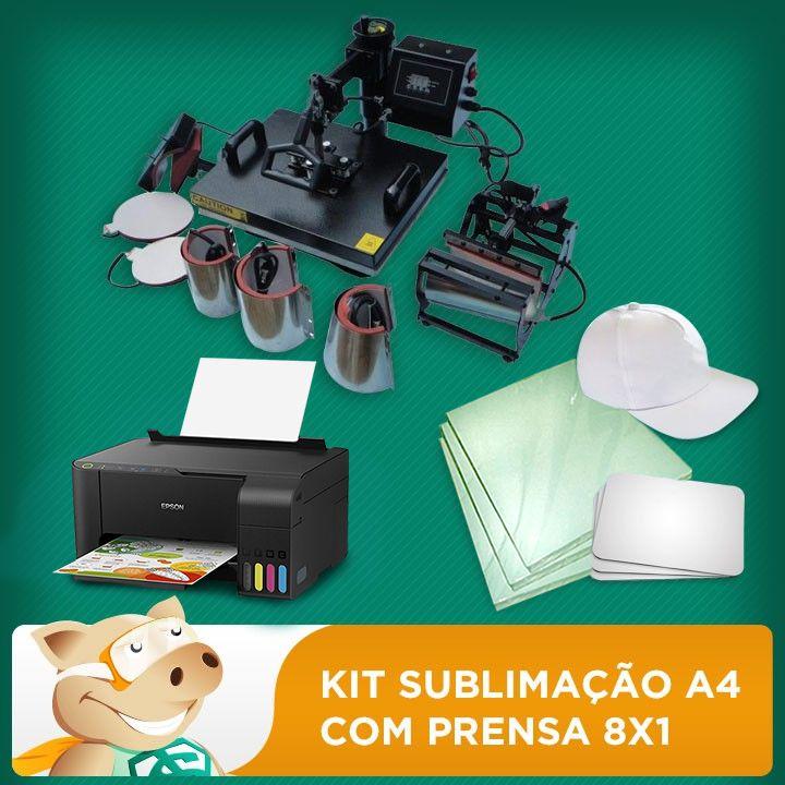 Kit sublimação A4 + 8x1 c/L3150 (prensa 8x1 + impressora A4 +  suprimentos + perfil de cores GRATIS   - ECONOMIZOU