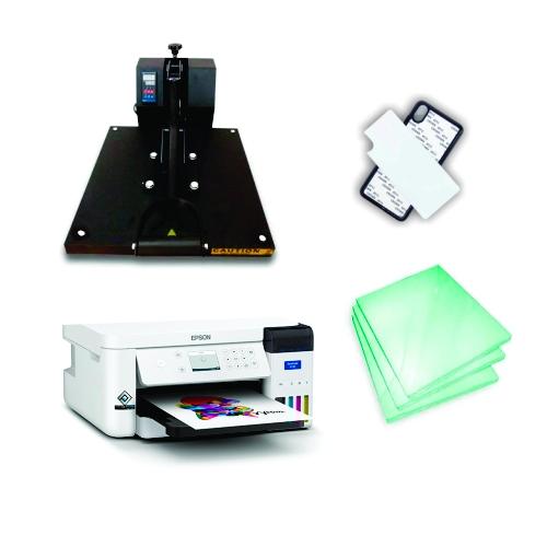 Kit Sublimação A4 (prensa 38x38 + EPSON F170 Sublimática - Original de Fábrica + suprimentos + perfil de cores GRATIS!)   - ECONOMIZOU