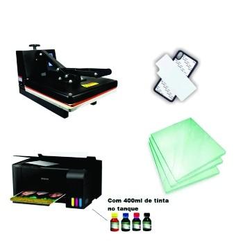 Kit Sublimação A4 (prensa 38x38 + Multifuncional A4 + suprimentos + perfil de cores GRATIS!)   - ECONOMIZOU
