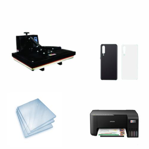 Kit Sublimação Iniciante A3 (Prensa 40x60 + Impressora Epson L3250 + 200 Folhas de Papel Sublimático Fundo Azul + 30 Capas de Celular)  - ECONOMIZOU