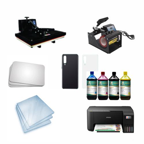 Kit sublimação Iniciante A4 (prensa 40x60 + prensa de canecas + multifuncional A4 L3250+ perfil de cores GRATIS!)  - ECONOMIZOU