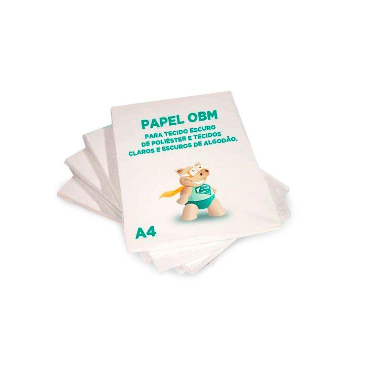 Papel OBM A4  - 20 Folhas - Para Tecido Escuro de Poliéster e Tecidos Claros e Escuros de Algodão  - ECONOMIZOU