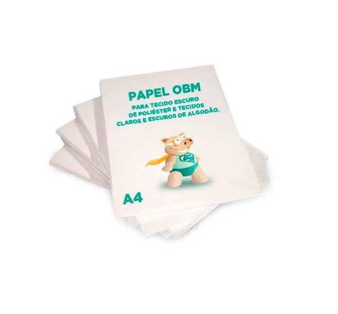 Papel OBM A4  - FOLHA - Personalizado -Para Tecido Escuro de Poliéster e Tecidos Claros e Escuros de Algodão  - ECONOMIZOU