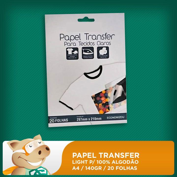Papel Transfer Light p/ 100% Algodão 140gr A4 20 Folhas  - ECONOMIZOU