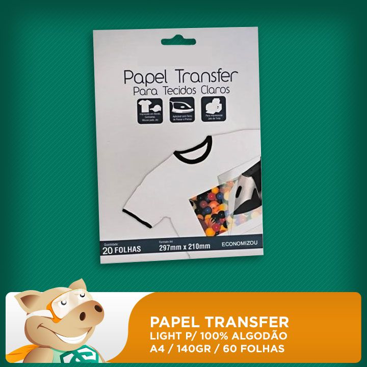 Papel Transfer Light p/ 100% Algodão 140gr A4 60 Folhas  - ECONOMIZOU