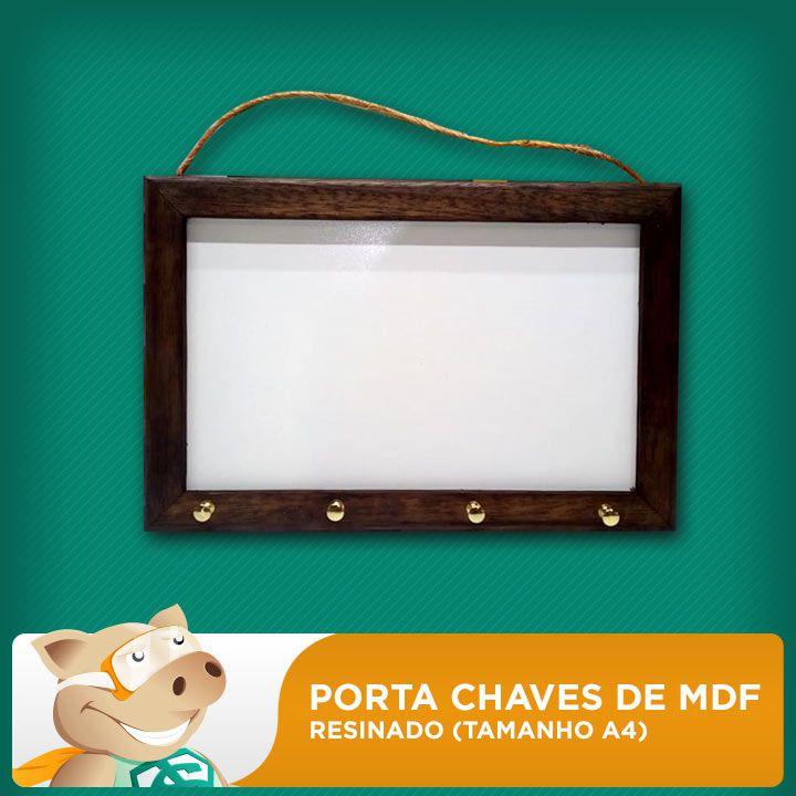 Porta Chaves de MDF Resinado 6mm A4  - ECONOMIZOU
