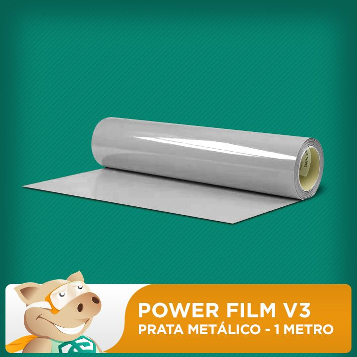 Power Film V3 Prata Metálico - 1 Metro  - ECONOMIZOU