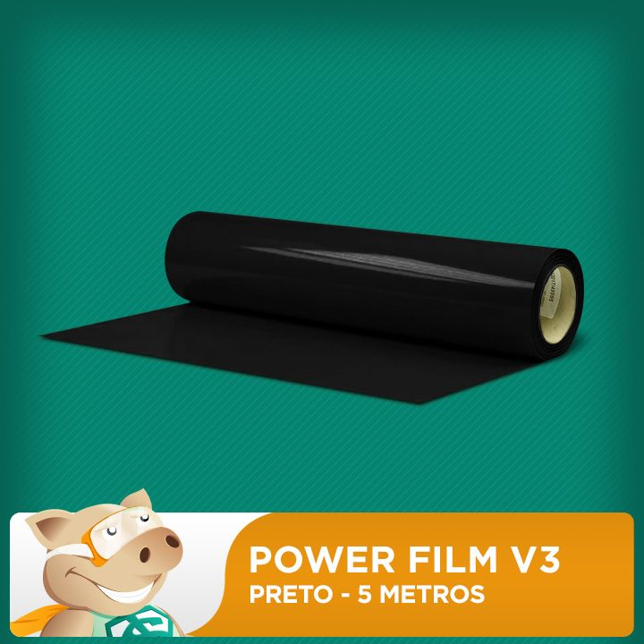 Power Film V3 Preto - 5 Metros  - ECONOMIZOU