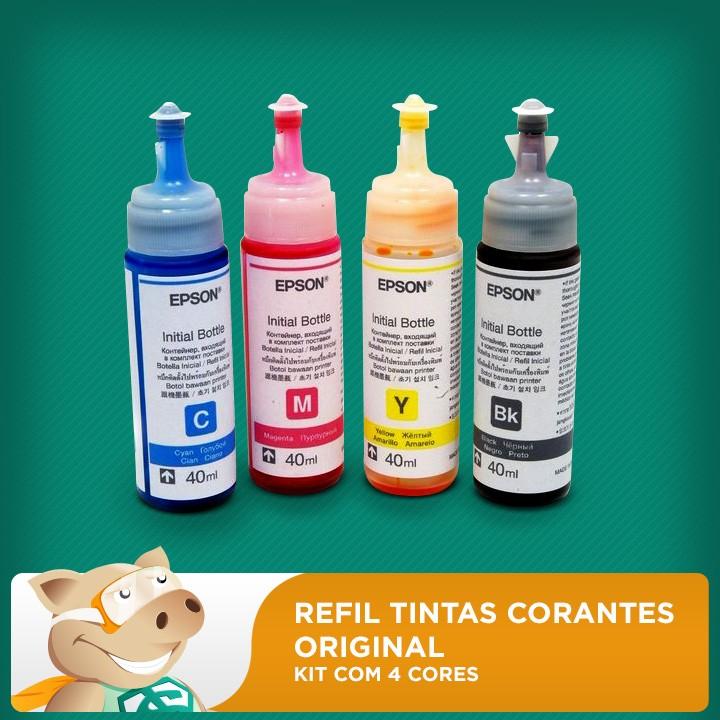 Refil Tintas Corantes Original KIT com 4 cores 40ml cada frasco - L120/L200/L210/L220/L355/L365/L375/L380/L395  - ECONOMIZOU