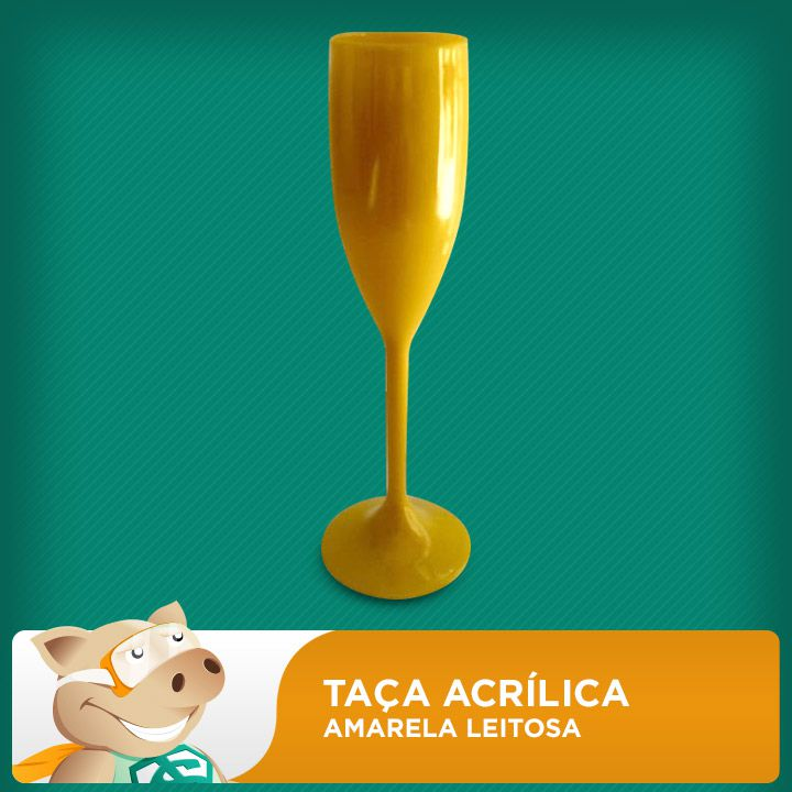 Taça Acrílica Amarela Leitosa  - ECONOMIZOU