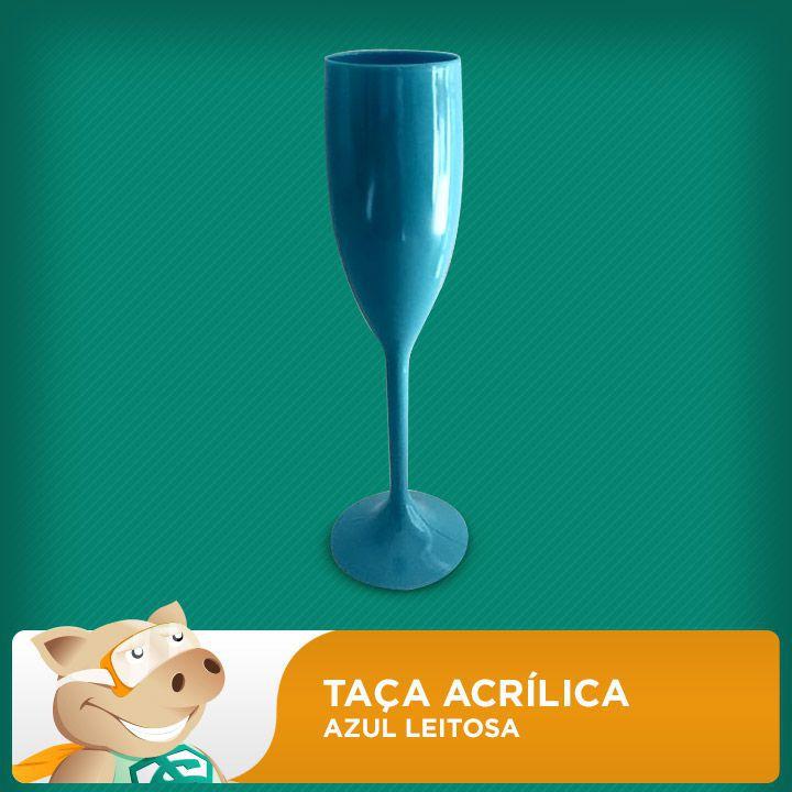 Taça Acrílica Azul Leitosa  - ECONOMIZOU