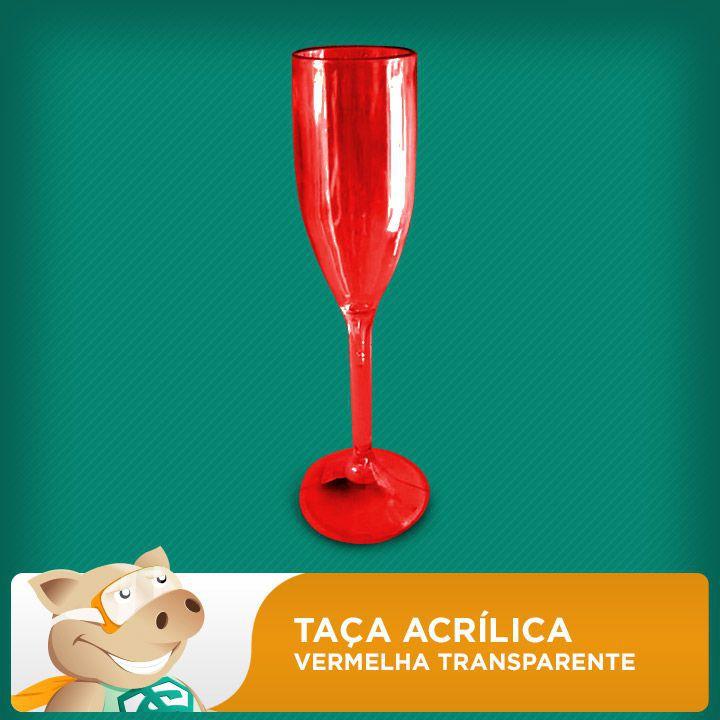 Taça Acrílica Vermelha Transparente  - ECONOMIZOU