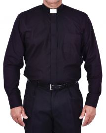 Traditional Clerical Shirt Long Sleeve Black CT068
