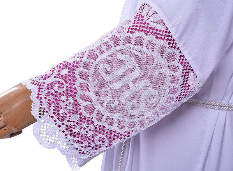 Alb Lace Liturgical JHS 60cm Lining Violaceous TU010
