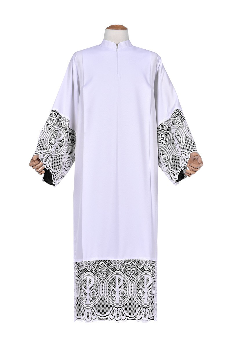 Pleats Liturgical Lace Tunic PX 30cm Lining Black TU023
