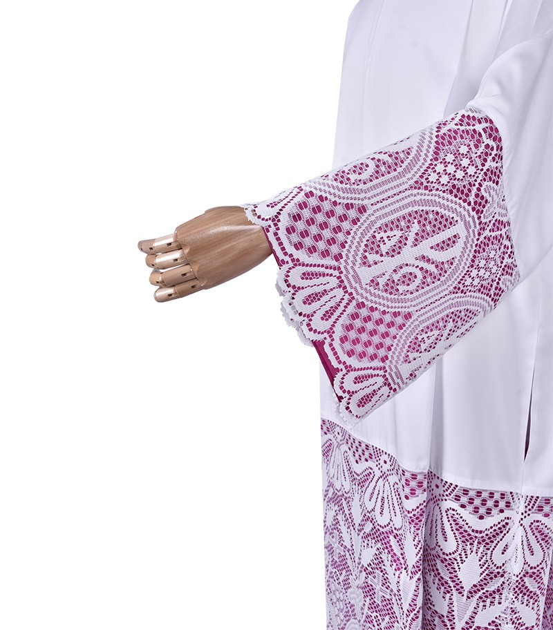 Pleats Liturgical Lace Tunic PX 60 cm Lining ViolaceousTU024