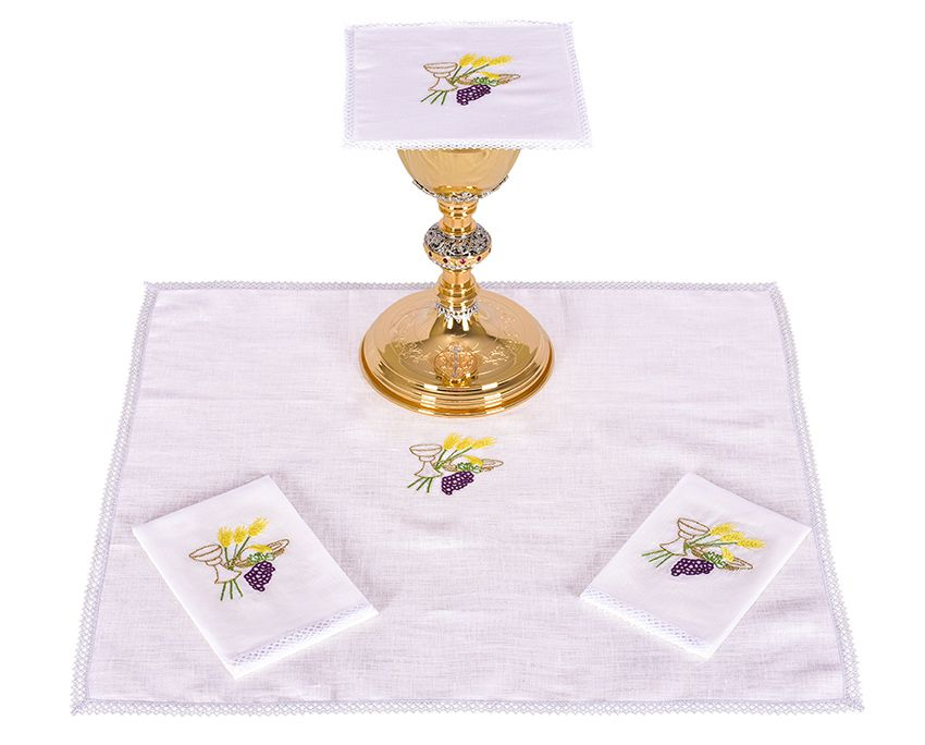 Altar Set Linen Chalice Wheat and Grape B010