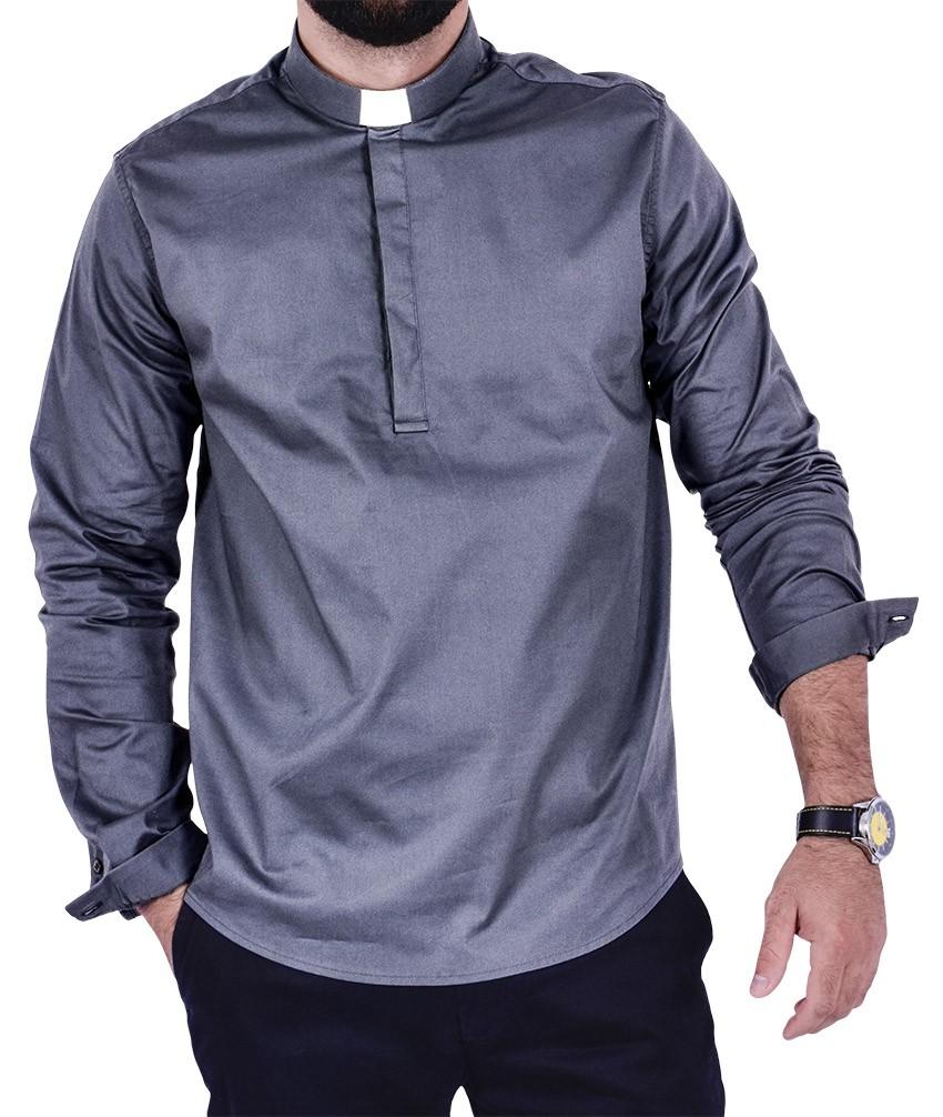 Clerical Shirt Slim Young Priest Denim