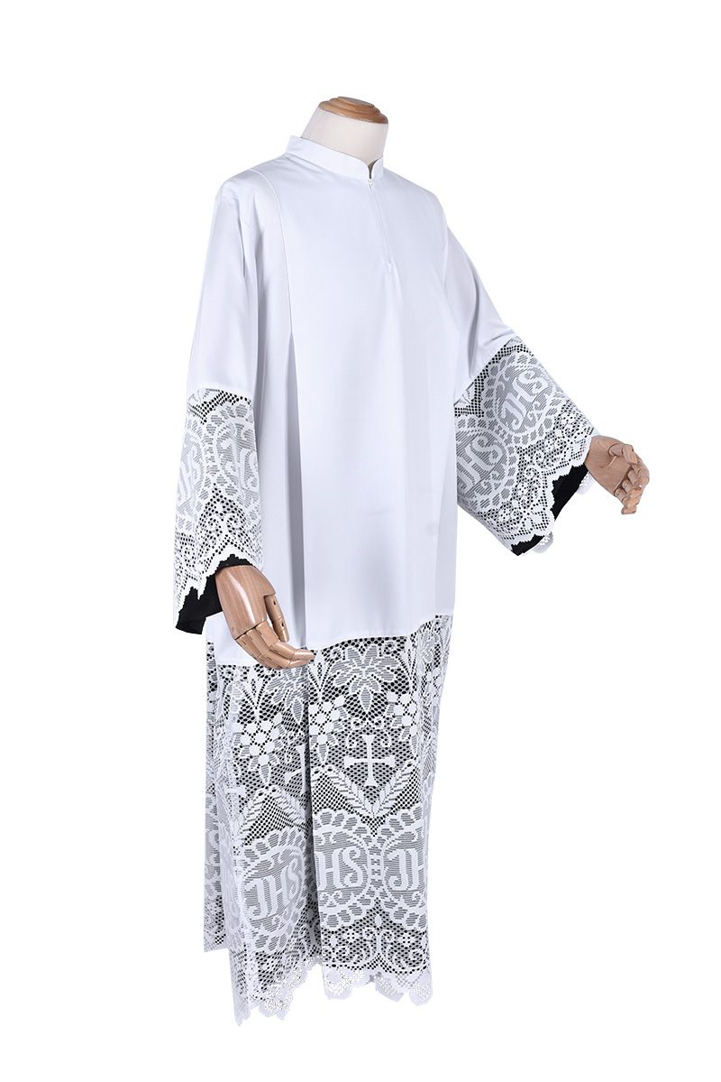 Pleats Liturgical Lace Tunic JHS 60cm Lining Black TU022