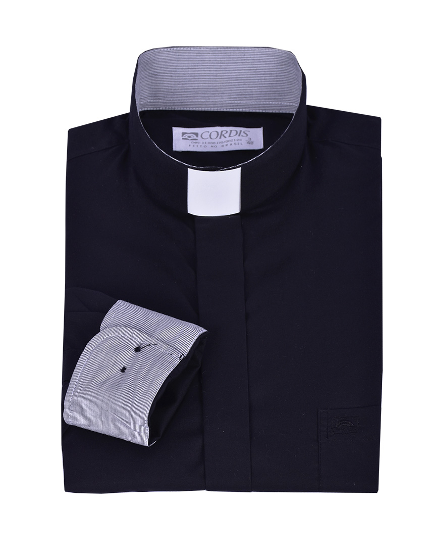 Traditional Clergy Shirt Long Sleeve with Detail Black