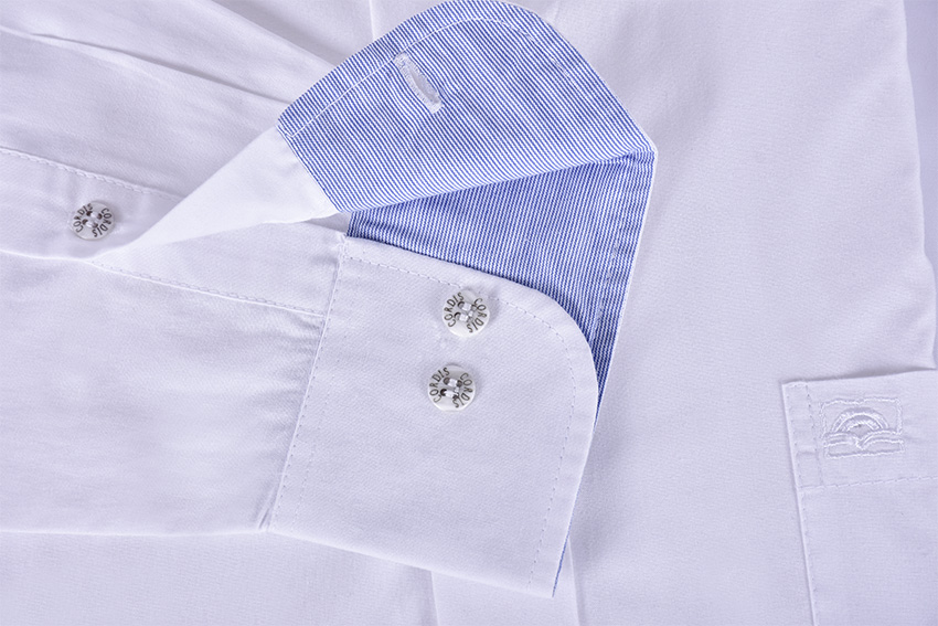Traditional Clergy Shirt Long Sleeve with Detail White