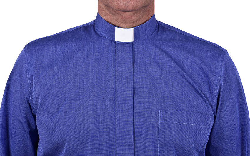 Traditional Clerical Shirt Long Sleeve Blue Blend CT068