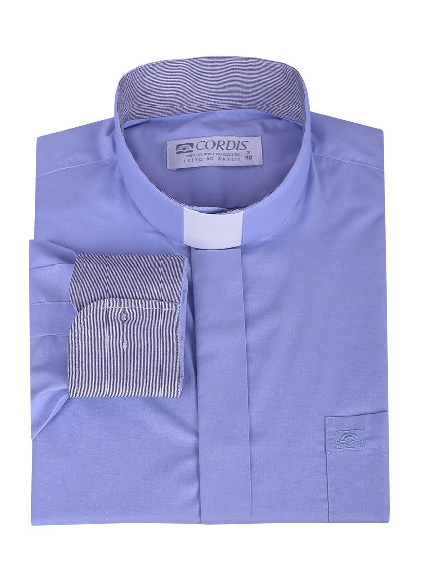 Traditional Clergy Shirt Long Sleeve with Detail Blue