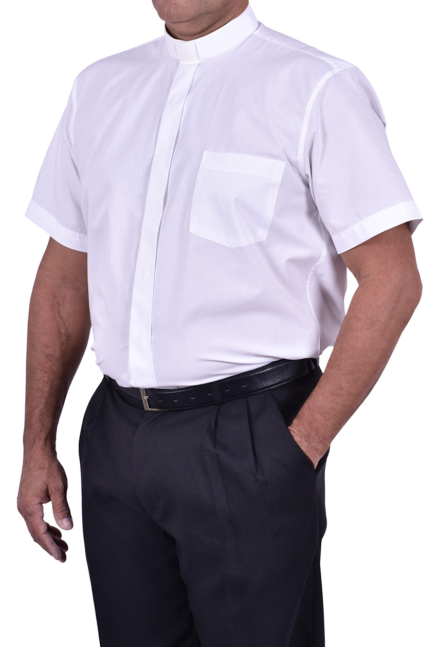 Traditional Clerical Shirt Short Sleeve White CT067