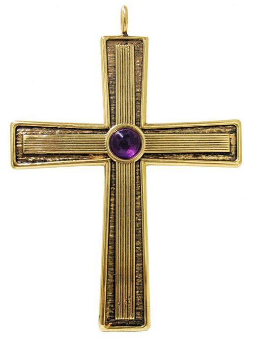 Cruz Peitoral Prata Dourada F9