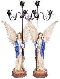 Imagem Par de Anjos com Candelabros Resina 115 cm