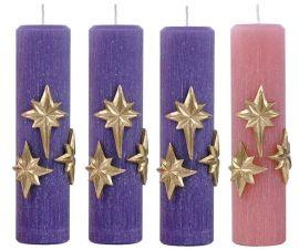 Kit Velas Advento Estrela Roxo e Róseo