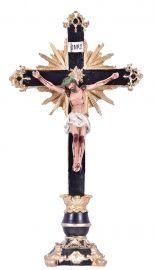 Crucifixo de Mesa Ornado Resina 40cm