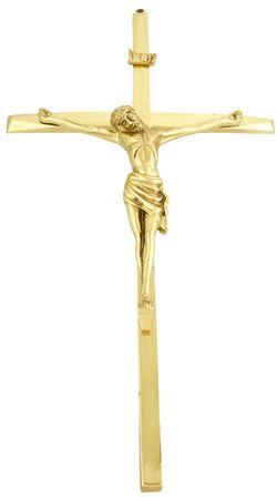 Crucifixo de Parede Metal com Banho Dourado 50cm 2040C