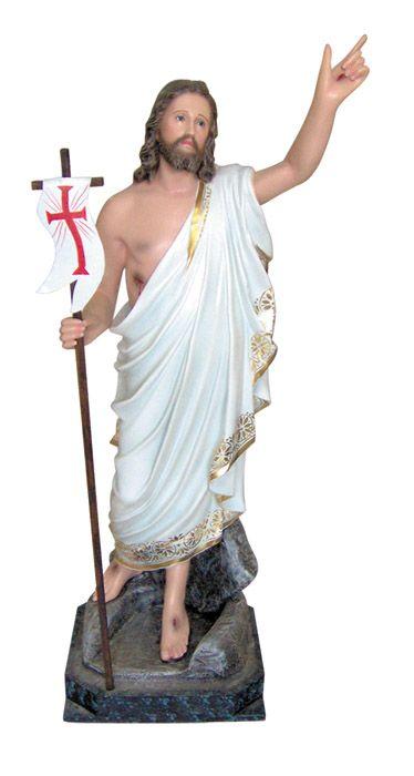 Imagem Cristo Ressuscitado com Base Gesso 100cm