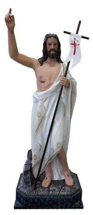 Imagem Cristo Ressuscitado com Base Gesso 80cm