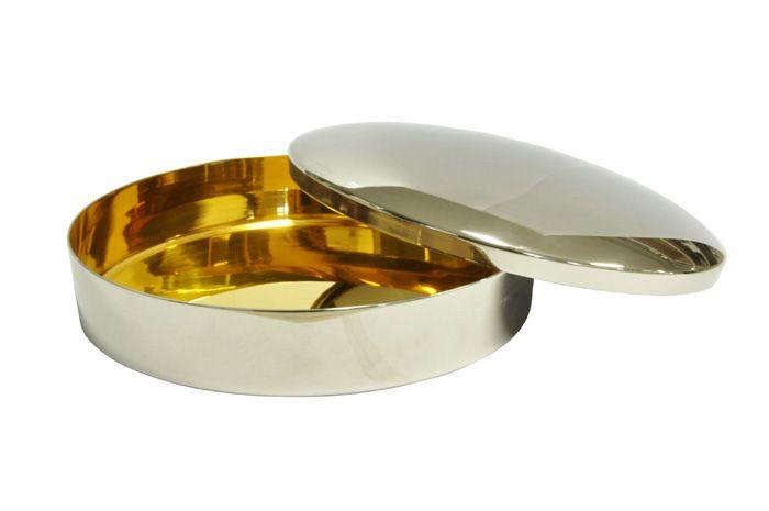 Caixa Hóstia Lisa Cromada com Dourado Interno 15,5 cm