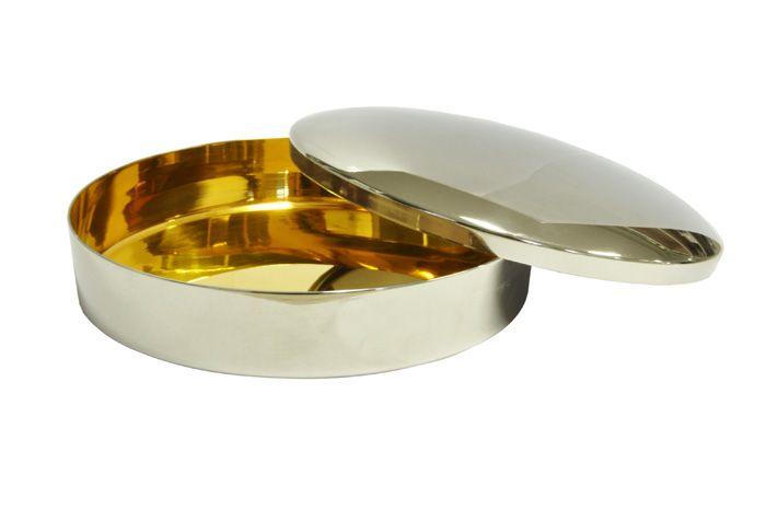 Caixa Hóstia Lisa Cromada com Dourado Interno 17,5 cm