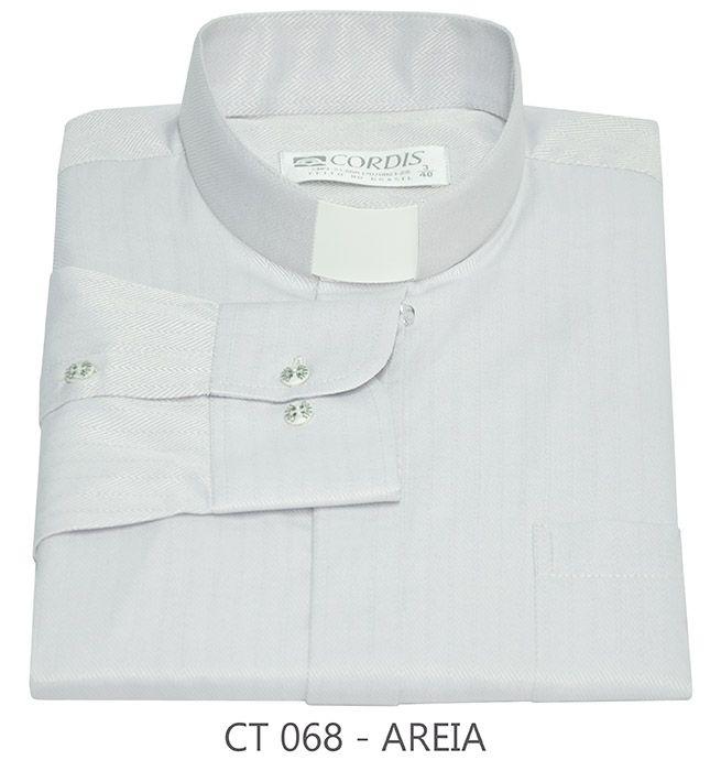 Camisa Clerical Tradicional Areia M/L