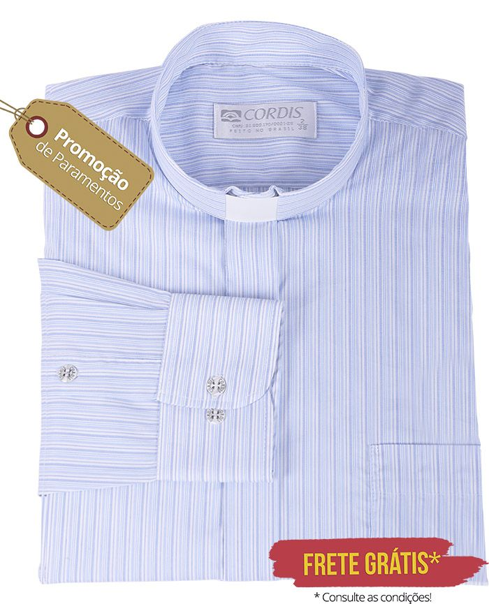 Camisa Clerical Tradicional Listrada M/L