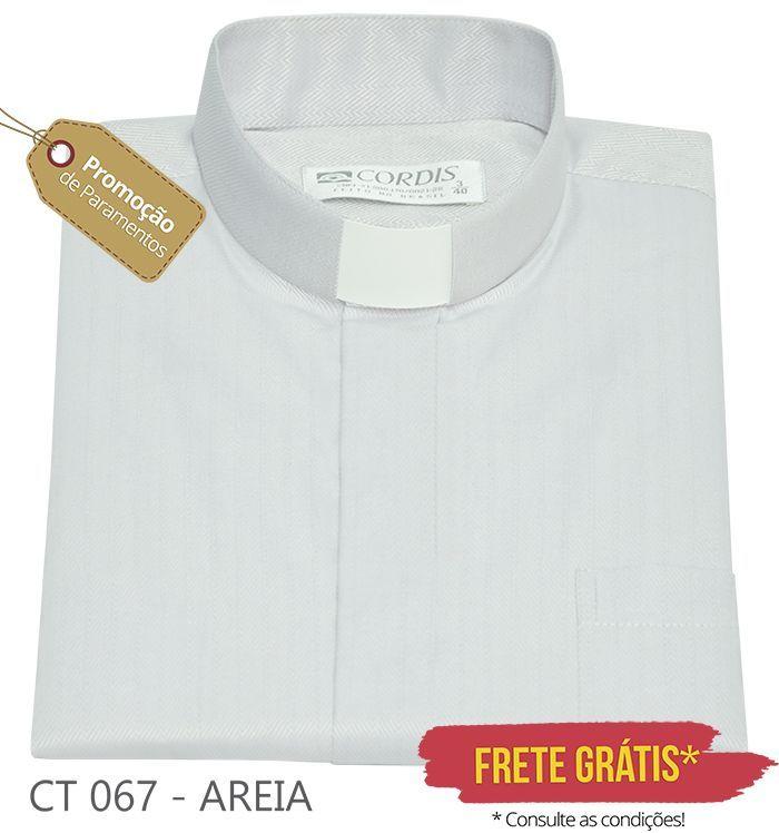 Camisa Clerical Tradicional Areia M/C