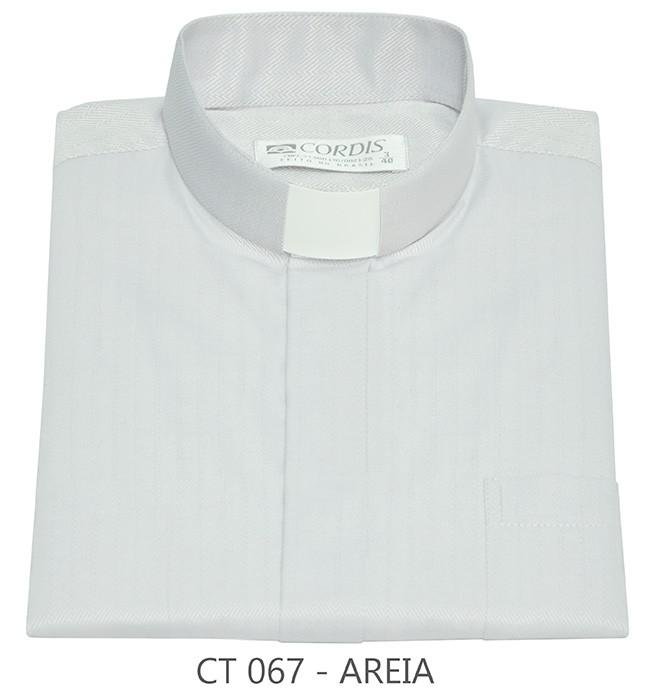 Camisa Clerical Tradicional Areia Manga Curta
