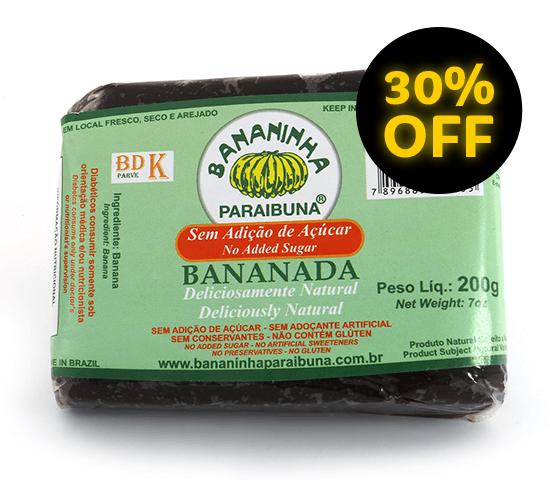 Bananada sem Açúcar <br>Tablete 200 g  - Bananinha Paraibuna
