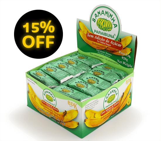 Bananinha sem Açúcar <br>Caixa 920 g (40 un)  - Bananinha Paraibuna