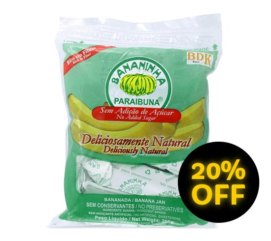 Bananinha sem Açúcar <br>Pacote 200 g  - Bananinha Paraibuna