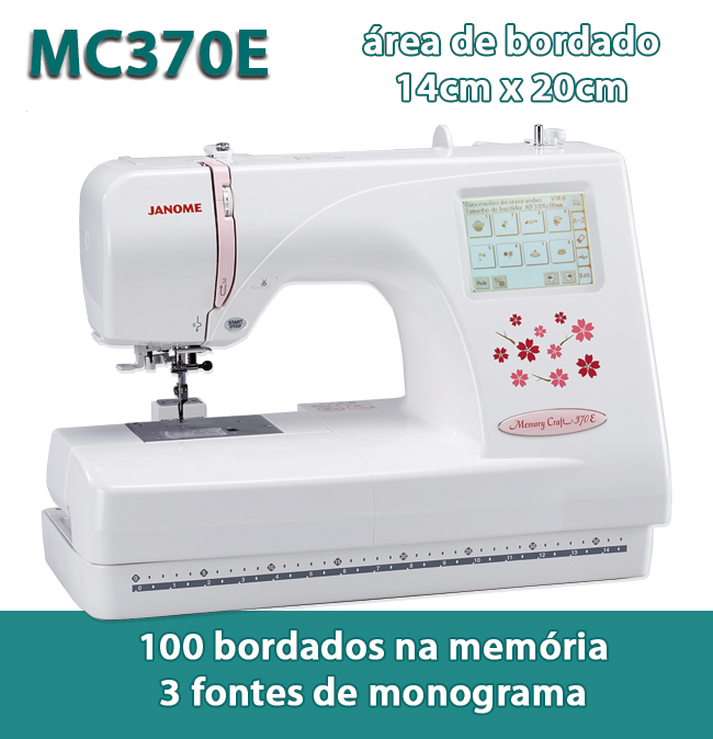 Máquina de Bordar Doméstica da Janome MC370e 14 x 20cm