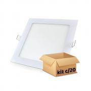 Kit Plafon Led de Embutir 12w Quadrado Branco Frio - 20 Peças