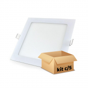 Kit Plafon Led de Embutir 12w Quadrado Branco Quente - 5 Peças