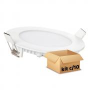 Kit Plafon Led de Embutir 12w Redondo Branco Frio - 10 Peças