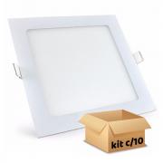 Kit Plafon Led de Embutir 18w Quadrado Branco Frio - 10 Peças