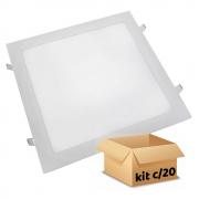 Kit Plafon Led de Embutir 24w Quadrado Branco Frio - 20 Peças